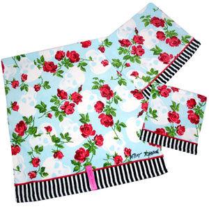 Betsey Johnson ◈ 2pc Towel Set ◈ Rose Skull Stripe